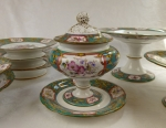 Minton English porcelain dessert set Botanical antique
