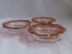 Moser cranberry art glass dessert bowls 3 enameled, marked