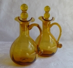Pilgrim Art Glass cruets amber vinegar & oil bottles