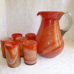 Blown Slag Art Glass Pitcher Tumblers set