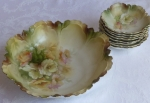 RS Prussia Berry Bowl set in blow out mold, soft color flora