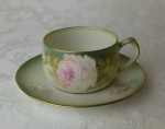 RS Germany porcelain ad cup & saucer pastel rose