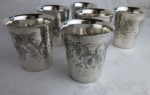 Britannia silver 6 juice or punch cups grapevine etched