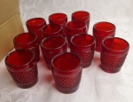 Shot glasses set of 12 ruby hobnail American pressed glass
