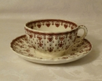 Spode Copeland Fleur de lis Brown Tea Cups & Saucers 4 sets