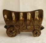 Shawnee Covered Wagon planter, bronze metallic brown