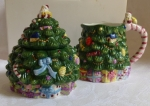 Spode Christmas Tree figural sugar + creamer with box