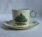 Spode Christmas Tree star handle cup & saucer
