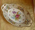Schumann Dresden Flowers oval reticulated bowl 11 5/8""