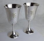 Manchester sterling silver 10oz water goblets mono H