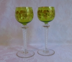 Saint Louis Crystal 2 wine glasses, air twist stems, chartre