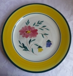 Stangl Pottery Flora Chop Plate 11 1/4 inch, yellow rim