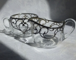 Sugar and Creamer glass with silver overlay