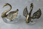 Silver & cut crystal swan salt cellars Raimond Sterling Germ
