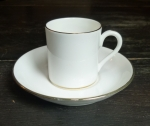 Crown Staffordshire demitasse cup & saucer white gold