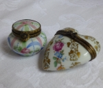 Limoges Trinket Pill Boxes Rehausse Heart & Fait Main