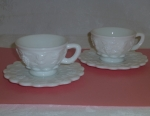 Westmoreland Paneled Grape 2 Cup Saucer sets, milk glass