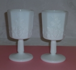 Westmoreland Paneled Grape 2 Water Goblets milk glass
