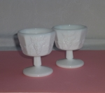 Westmoreland Paneled Grape 2 Low Sherbets milk glass