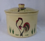 Watt Pottery hand painted rooster cheese crock #80