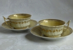 Chamberlain's Worcester #910 2 tea cups, yellow, 1810