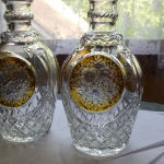 2 Crystal Wine Decanters large amber cut to clear floral