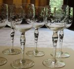 Wine glasses set of 6.  blown with cut floral