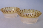 Aetna Glass Adonis Bowls Frosted with Amber Ruffle 1885