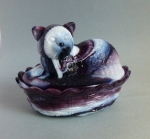 Covered animal candy dish purple slag glass Cat