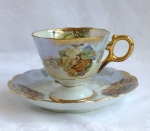 Japanesse cup & saucer, pearlized luster, Royal Hausey