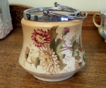English Earthenware Biscuit Jar, hand painted floral, W&R