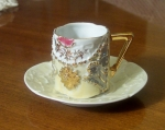 Antique German Gift Cup & Saucer, Yellow Luster