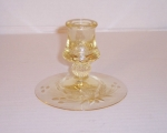 Heisey Glass Mercury Candlestick Etched Yellow