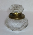 Cut glass inkwell, brass hinge, glass lid, 19th century