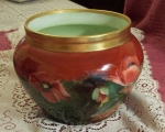 Antique French Limoges Red Poppies Hand Painted Planter