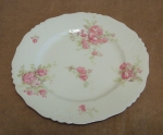 J Pouyat French Limoges 3 Luncheon Plates, Pink Sprays