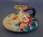 Pouyat French Limoges Squat Vase, artist signed E. Williams