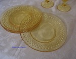LE Smith Hobnail Salad Plates 4 Clear Yellow Glass