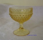 LE Smith Hobnail Sherbets 4- Clear Yellow Glass