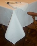 Cottunique White Tablecloth 60x108 Made in USA