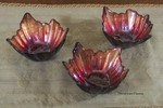 Turkish Art Glass Red & Gold Oak Leaf Bowl, small