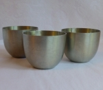 Brushed finish Pewter custard cups 3 vintage