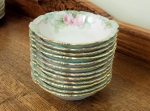 J Pouyat French Limoges Bowls,12 hand painted pastels