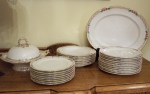 Antique English bone china dinnerware set, Kerr & Binns 1850
