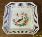 Schumann Square Bowl, Colorful Painted Pheasants Dresden sty