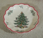 Spode Christmas Tree round dish or bowl, red trim