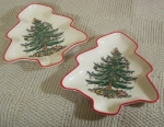 Spode Christmas Tree shape 2 dishes, red trim