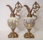 Antique Mantel Ewers pair, Wave Crest Glass Mellon Shape