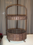 Old Splint Woven Wedding Basket, two tier, on wheels