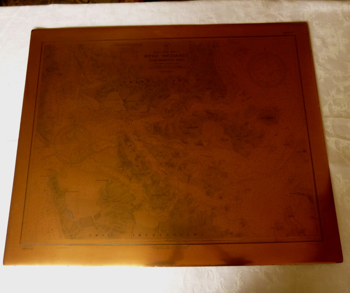 Oa 0041 Copper Map Printing Plate Japan 1921 Us Navy